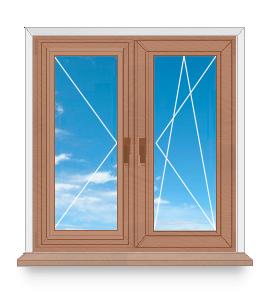 Двухстворчатое окно с двумя открывающимися створками