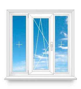 Трехстворчатое окно с одной открывающейся створкой посередине