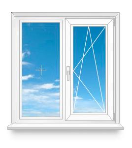 Двухстворчатое окно с одной открывающейся створкой